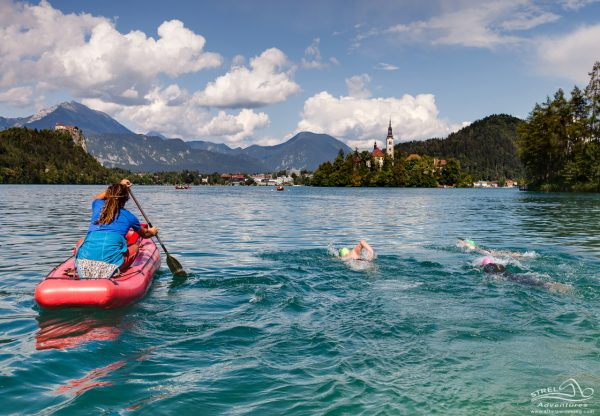 slovenian lakes and river strel swimming