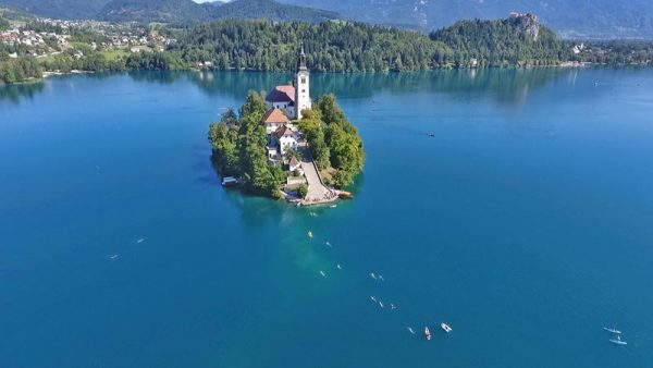 Swim to the Lake Bled island Slovenia
