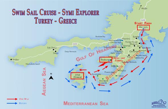 Swim Sail Cruise Symi Explorer-Swimming-Map