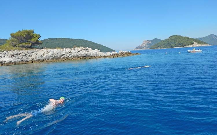 Island Hopping Swimming near Dubrovnik Islands in Croatia