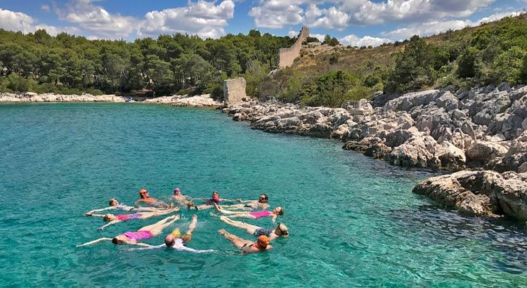Swimming Group at Grebastica Peninsula in Croatia