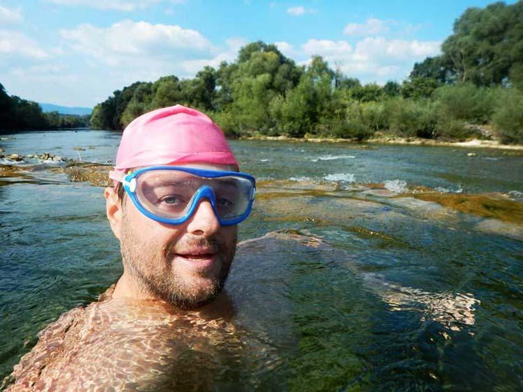 Swimming in Kolpa River in Slovenia and Croatia